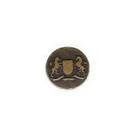 "Rampant Lion & Rampant Unicorn Heraldry Button. Antique Brass Finish, size 7/8"" (20mm)"
