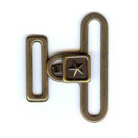 "Square Texas Star Clasp in Antique Brass Finish. Size 2"" X 1.75""."