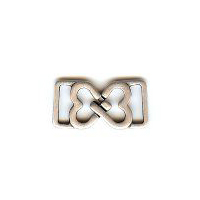 "Small Interlocking Hearts Clasp ""You Complete Me"" in Antique Silver Finish. Size .5"" X 1"""