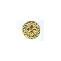 Fleur De Lis Button Shiny Gold Finish (2 sizes available)