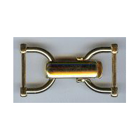 Over-latch Stirrup Shaped Clasp Closure in Gold Finish.