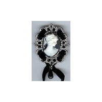 Cameo Brooch Pin in Antique Silver Finish with a White and Black Cameo