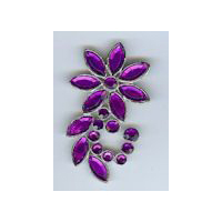 Shooting Star Flower - Costume Brooch in Nickel Finish with Purple Stones