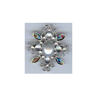 Victorian Brooch in Gunmetal Finish with Black and Clear gems and a Pearl Center