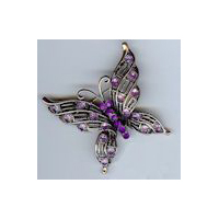 Victorian Butterfly Brooch in Antique Copper Finish with Purple Stones