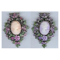 Cameo Brooch in Antique Brass with Pink or Purple Cameo and Stones