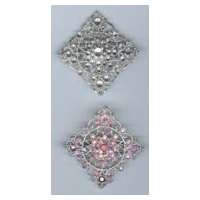 Diamond Shaped Brooch with Silver Nickel Finish and Clear or Pink Stones