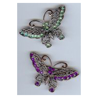 Victorian Filigree Butterfly Brooch in Antique Copper Finish with Purple or Green Stones