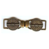 Brushed Antique Brass Finish Banded X Marks The Spot Cross Design Clasp