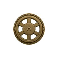 Steampunk Button - Open Wheel Button - Antique Brass Finish 1 5/8""