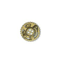 Steampunk Gears Button - Brass finish - 5/8""