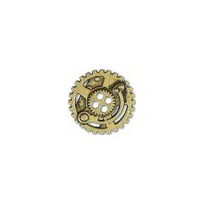 Steampunk Gears Button - Brass finish - 7/8""