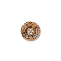 Steampunk Gears Button - Copper finish - 5/8""