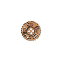 Steampunk Gears Button - Copper finish - 7/8""