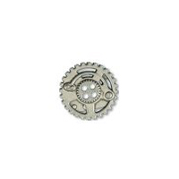 Steampunk Gears Button - Nickel finish - 5/8""