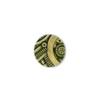 Steampunk Gadget  Button - Brass finish - 5/8""