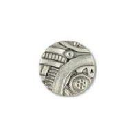 Steampunk Gadget  Button - Nickel finish - 5/8""