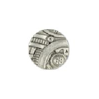 Steampunk Gadget  Button - Nickel finish - 7/8""