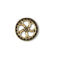Steampunk Flywheel Button - Brass finish - 5/8""