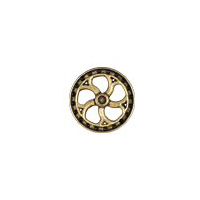 Steampunk Flywheel Button - Brass finish - 7/8""