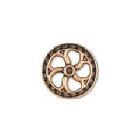 Steampunk Flywheel Button - Copper finish - 7/8""