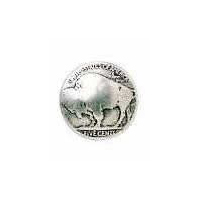 "Buffalo Nickel Button 3/4"" Size"