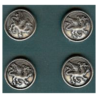 Heraldic Dragon Buttons - Card of 4 - Pewter - 7/8""