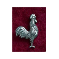 Crowing Rooster Pewter Pin or Brooch
