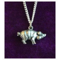 Pig Necklace - Solid Pewter