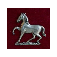 Spirited Wild Horse Brooch - Solid Pewter