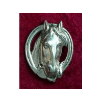 Horsehead in Horseshoe Brooch - Solid Pewter