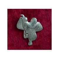 Western Saddle Brooch - Solid Pewter