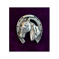 Large Horse Head Brooch - Solid Pewter