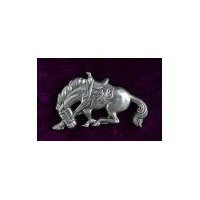 Large Riderless Bronco Brooch - Solid Pewter