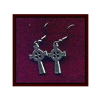 Celtic Cross Earrings - Solid Pewter