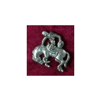 Small Saddle Bronc Brooch - Solid Pewter
