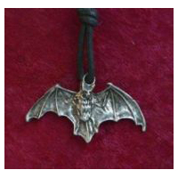 Flying Bat Pendant Necklace (Solid Pewter)