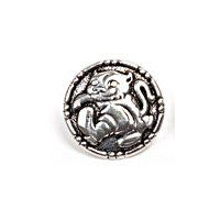 Katten Med St�vlene - Pewter Cat Button 18mm -  11/16""