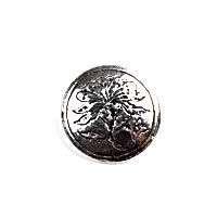 H�ndst�pte Knapper Intricate Blossom Pewter Button. 16MM 10/16""