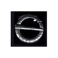 Circular Runic Dragon Pewter Brooch