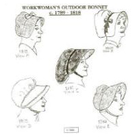 1789 - 1818 Workwoman's Outdoor Bonnet Pattern