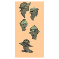 1935 Set of Four Ladies'  Hats Pattern, Head Size 23""