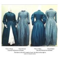 Ladies 1840s-1860s Pleated Wrapper, Morning Gown, Work or Maternity Dress With 2 Sleeve Variations, Optional Collar, & Belt Pattern