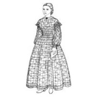 1858-1864 A Sheer Muslin Dress with Bishop Sleeves, Oversleeves & High Lining Pattern