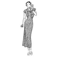 1935 Day Dress with Bodice Button Closure