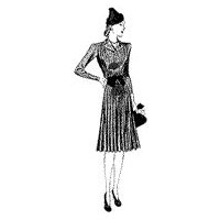 1940 Button-front Dress with Pleated Skirt