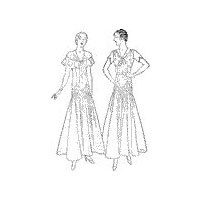 1930 - 1932 Dress with Long Flared Skirt and Bertha Ruffle