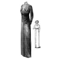 1912 Grey Dress with Ornate Buttons Pattern