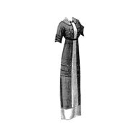 1912 Brown Wool Dress with White Inserts Pattern