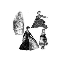 1870 4 Doll's Costumes